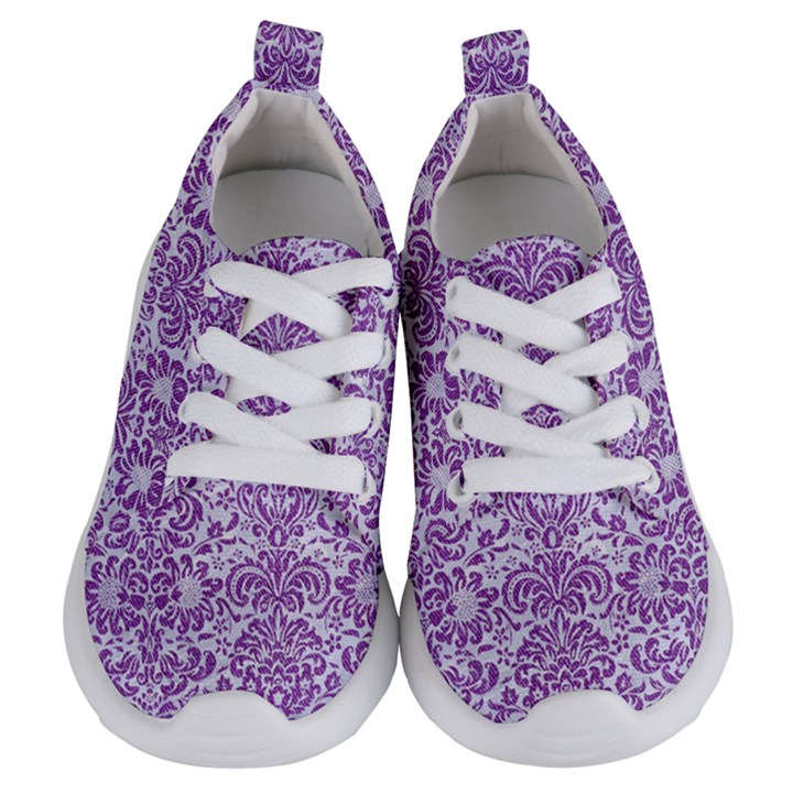DAMASK2 WHITE MARBLE & PURPLE DENIM (R) Kids  Lightweight Sports Shoes