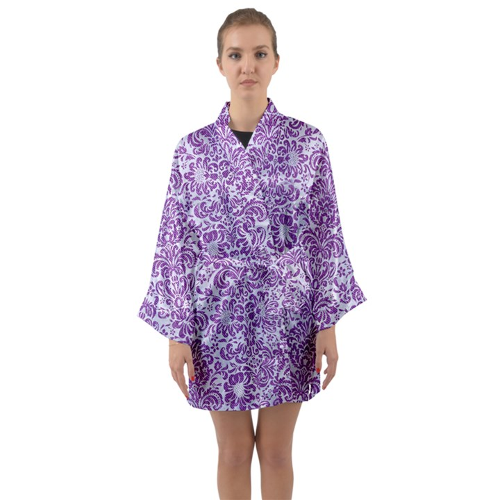 DAMASK2 WHITE MARBLE & PURPLE DENIM (R) Long Sleeve Kimono Robe