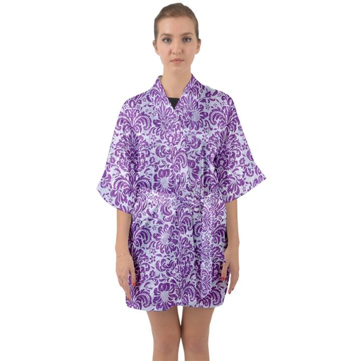 DAMASK2 WHITE MARBLE & PURPLE DENIM (R) Quarter Sleeve Kimono Robe