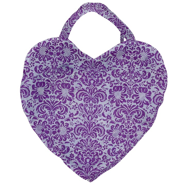 DAMASK2 WHITE MARBLE & PURPLE DENIM (R) Giant Heart Shaped Tote