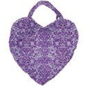 DAMASK2 WHITE MARBLE & PURPLE DENIM (R) Giant Heart Shaped Tote View2