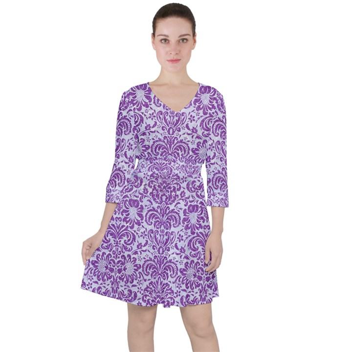 DAMASK2 WHITE MARBLE & PURPLE DENIM (R) Ruffle Dress
