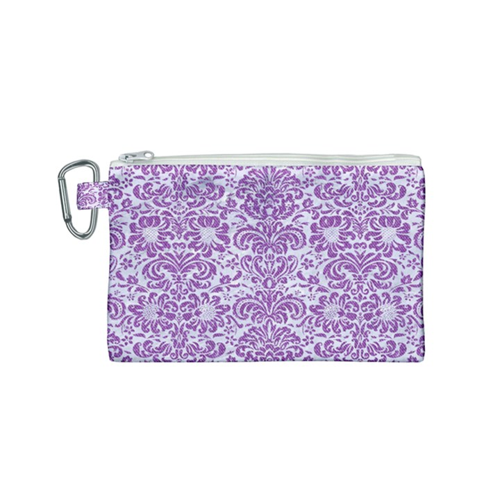 DAMASK2 WHITE MARBLE & PURPLE DENIM (R) Canvas Cosmetic Bag (Small)