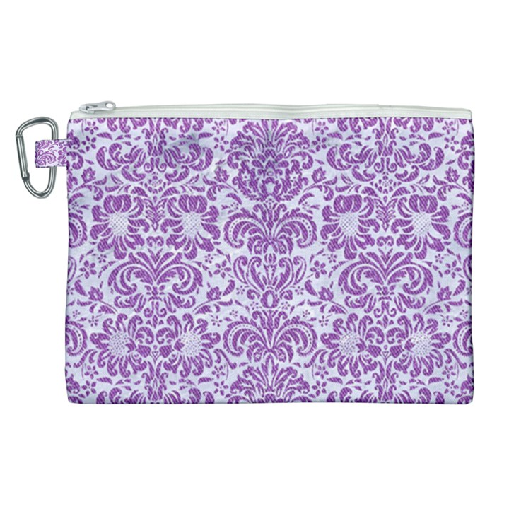 DAMASK2 WHITE MARBLE & PURPLE DENIM (R) Canvas Cosmetic Bag (XL)
