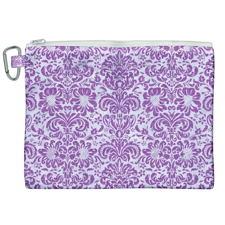 DAMASK2 WHITE MARBLE & PURPLE DENIM (R) Canvas Cosmetic Bag (XXL)