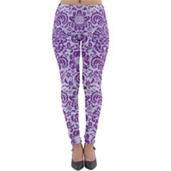 Damask2 White Marble & Purple Denim (r) Lightweight Velour Leggings