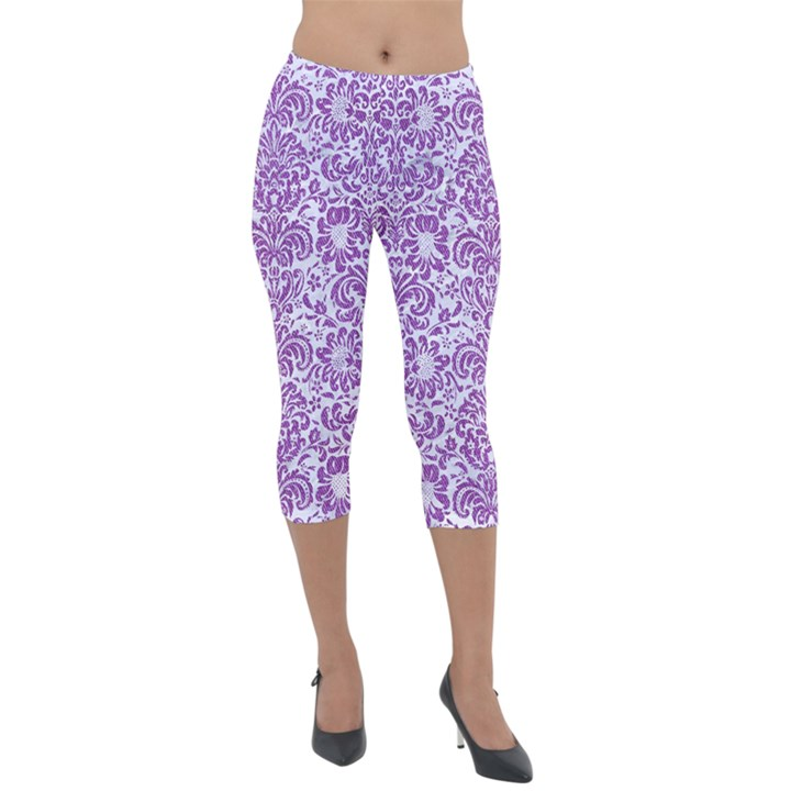 DAMASK2 WHITE MARBLE & PURPLE DENIM (R) Lightweight Velour Capri Leggings