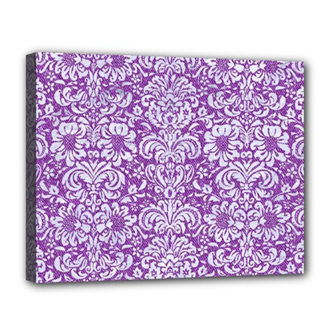 Damask2 White Marble & Purple Denim Canvas 14  X 11