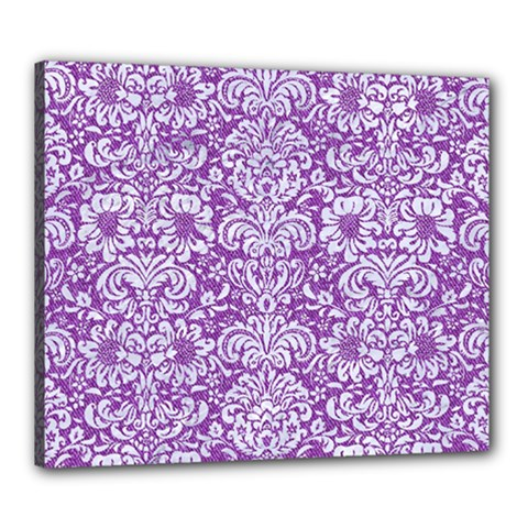 Damask2 White Marble & Purple Denim Canvas 24  X 20
