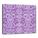 DAMASK2 WHITE MARBLE & PURPLE DENIM Canvas 24  x 20  View1