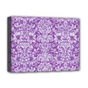 DAMASK2 WHITE MARBLE & PURPLE DENIM Deluxe Canvas 16  x 12   View1