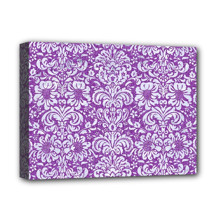 DAMASK2 WHITE MARBLE & PURPLE DENIM Deluxe Canvas 16  x 12