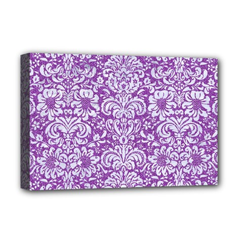 Damask2 White Marble & Purple Denim Deluxe Canvas 18  X 12