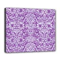 DAMASK2 WHITE MARBLE & PURPLE DENIM Deluxe Canvas 24  x 20   View1