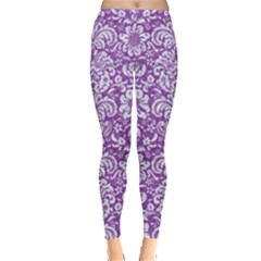 Damask2 White Marble & Purple Denim Leggings