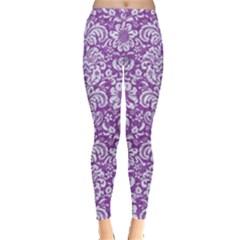 Damask2 White Marble & Purple Denim Leggings  by trendistuff