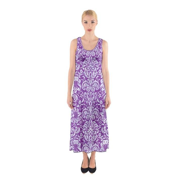 DAMASK2 WHITE MARBLE & PURPLE DENIM Sleeveless Maxi Dress