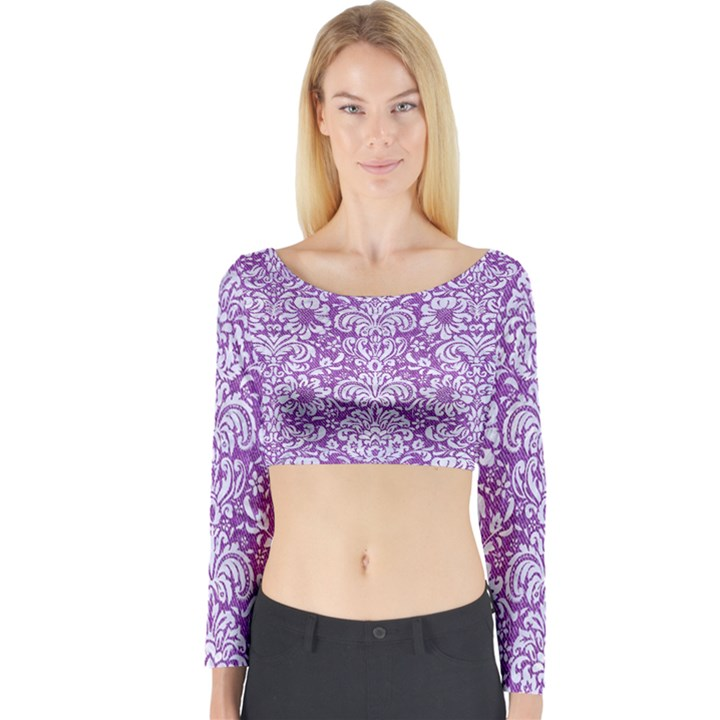 DAMASK2 WHITE MARBLE & PURPLE DENIM Long Sleeve Crop Top