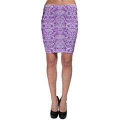 DAMASK2 WHITE MARBLE & PURPLE DENIM Bodycon Skirt