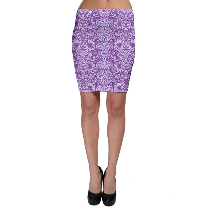 DAMASK2 WHITE MARBLE & PURPLE DENIM Bodycon Skirt