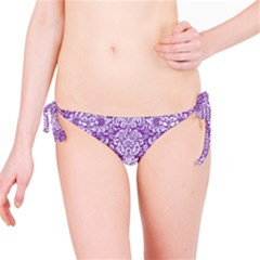 Damask2 White Marble & Purple Denim Bikini Bottom