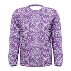 Damask2 White Marble & Purple Denim Men s Long Sleeve Tee