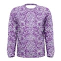DAMASK2 WHITE MARBLE & PURPLE DENIM Men s Long Sleeve Tee View1