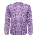 DAMASK2 WHITE MARBLE & PURPLE DENIM Men s Long Sleeve Tee View2
