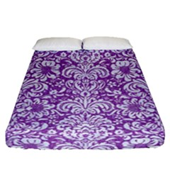 Damask2 White Marble & Purple Denim Fitted Sheet (queen Size)