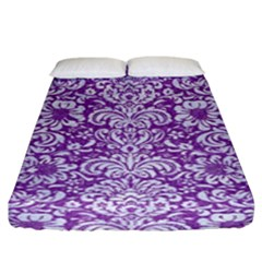 Damask2 White Marble & Purple Denim Fitted Sheet (king Size)