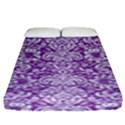 DAMASK2 WHITE MARBLE & PURPLE DENIM Fitted Sheet (King Size) View1