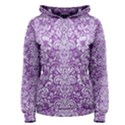 DAMASK2 WHITE MARBLE & PURPLE DENIM Women s Pullover Hoodie View1