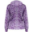 DAMASK2 WHITE MARBLE & PURPLE DENIM Women s Pullover Hoodie View2