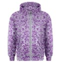 DAMASK2 WHITE MARBLE & PURPLE DENIM Men s Zipper Hoodie View1