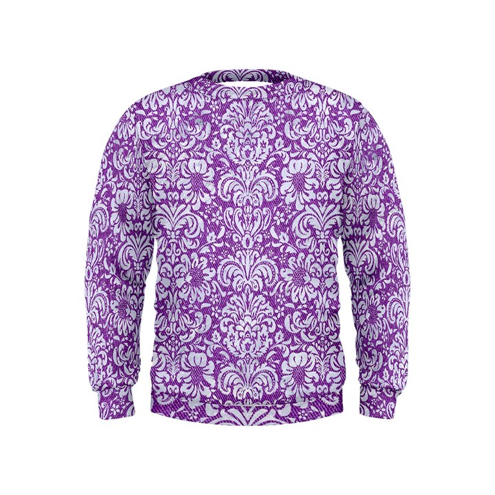 DAMASK2 WHITE MARBLE & PURPLE DENIM Kids  Sweatshirt
