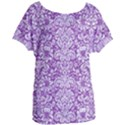 DAMASK2 WHITE MARBLE & PURPLE DENIM Women s Oversized Tee View1