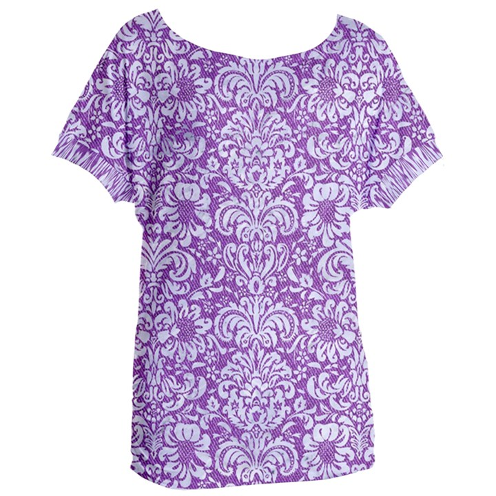 DAMASK2 WHITE MARBLE & PURPLE DENIM Women s Oversized Tee