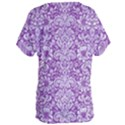 DAMASK2 WHITE MARBLE & PURPLE DENIM Women s Oversized Tee View2