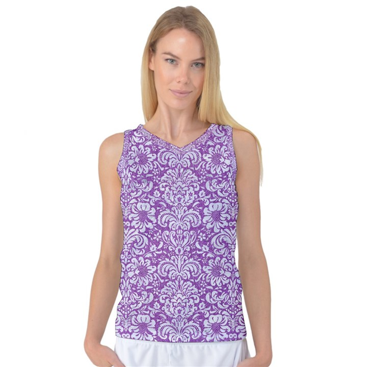DAMASK2 WHITE MARBLE & PURPLE DENIM Women s Basketball Tank Top
