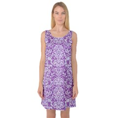 Damask2 White Marble & Purple Denim Sleeveless Satin Nightdress