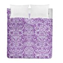 DAMASK2 WHITE MARBLE & PURPLE DENIM Duvet Cover Double Side (Full/ Double Size) View1