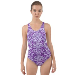 Damask2 White Marble & Purple Denim Cut Out Back One Piece Swimsuit