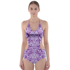 Damask2 White Marble & Purple Denim Cut Out One Piece Swimsuit