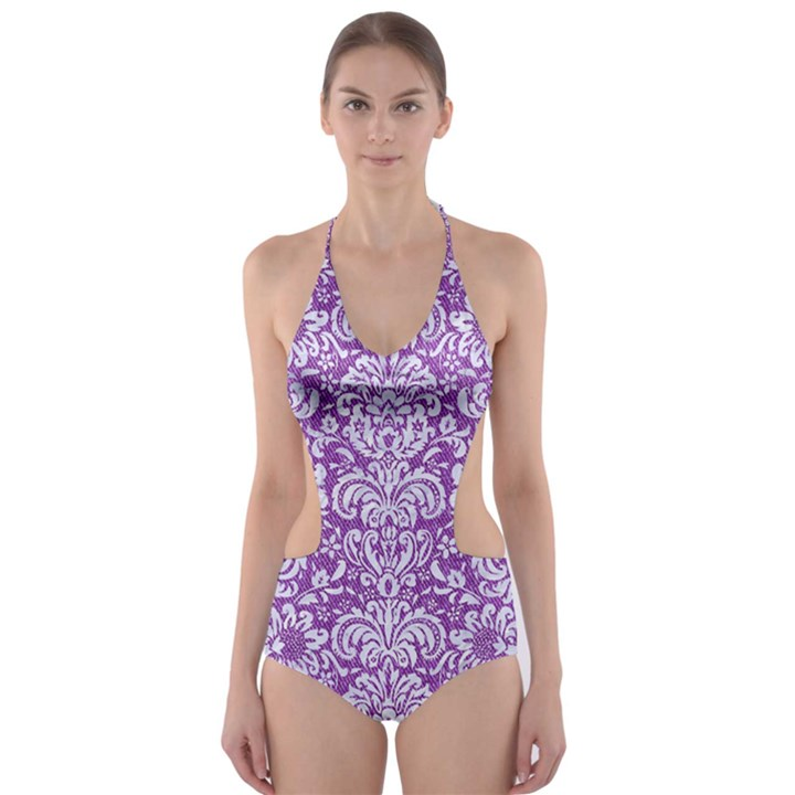 DAMASK2 WHITE MARBLE & PURPLE DENIM Cut-Out One Piece Swimsuit