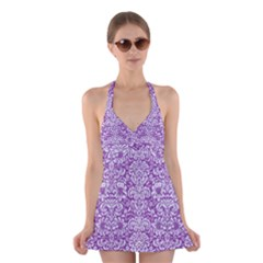 Damask2 White Marble & Purple Denim Halter Dress Swimsuit