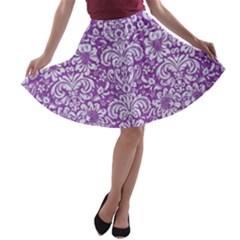 Damask2 White Marble & Purple Denim A Line Skater Skirt