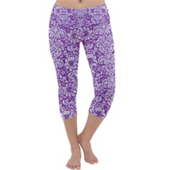 Damask2 White Marble & Purple Denim Capri Yoga Leggings
