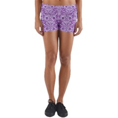 Damask2 White Marble & Purple Denim Yoga Shorts