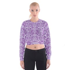 DAMASK2 WHITE MARBLE & PURPLE DENIM Cropped Sweatshirt