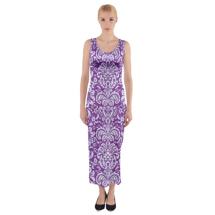 DAMASK2 WHITE MARBLE & PURPLE DENIM Fitted Maxi Dress